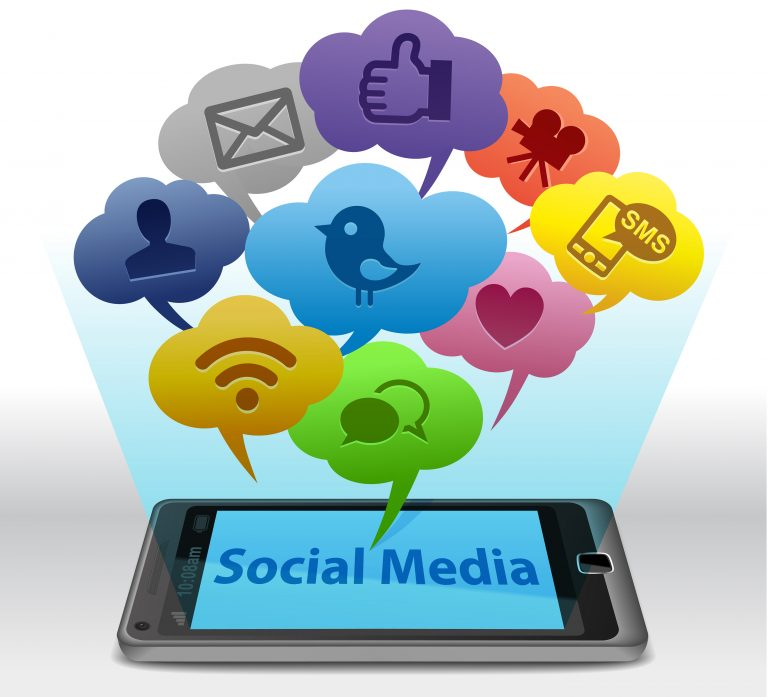 Social media platform icons from phone